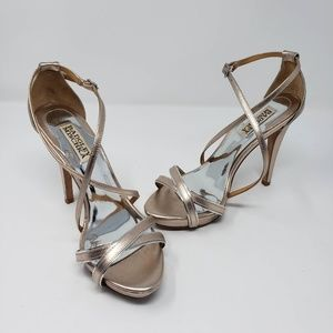 Badgley Mischka leather sole strappy 4.5 in heels